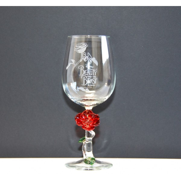 Beauty and the Beast wine Glass with Rose