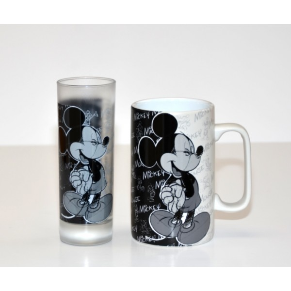 Mickey Mouse Patterned glass and Mug Set