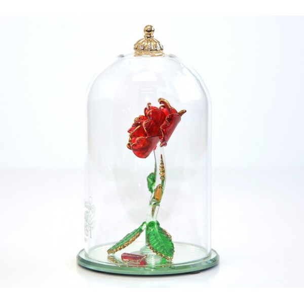 Beauty and the Beast Glass Dome Rose Ornament, Arribas Glass Collection (Medium)