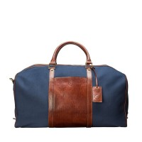 Giovane L  - Tan / Navy Luxury Leather Large Canvas Travel Bag - Maxwell Scott