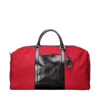Giovane M  - Racing Red Luxury Leather Large Canvas Travel Bag - Maxwell Scott
