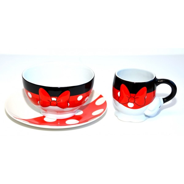 Minnie Mouse Fun Breakfast Mug, Bowl and Plate Set, Disneyland Paris