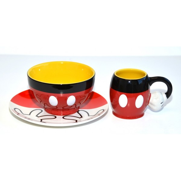 Mickey Mouse Fun Breakfast Mug, Bowl and Plate Set, Disneyland Paris