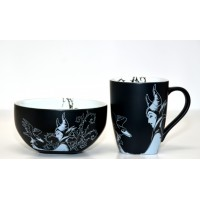 Disney Maleficent Black and White Mug and Bowl Breakfast Set