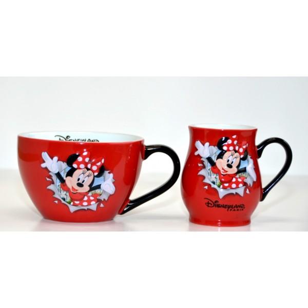 Disneyland Paris Minnie Mouse Burst Mug and Bowl with handle Set