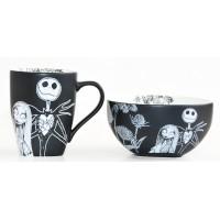 Disney Nightmare Before Christmas Jack Skellington and Sally Black and White Mug and Bowl Breakfast Set