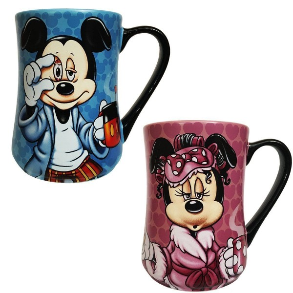 Disney Mickey and Minnie Mouse Coffee Mug Mornings Set of 2