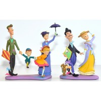 Mary Poppins, Bert, Jane, Michael Banks Figure + George et Winifred Banks, Andrew the Dog Limited Edition Set