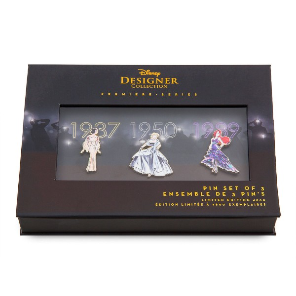 Disney Store Designer Premiere Limited Edition Pin Set Snow White, Cinderella, and Ariel (The Little Mermaid 1989)