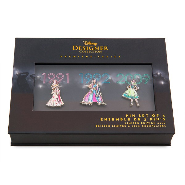 Disney Store Designer Premiere Limited Edition Pin Set Belle (Beauty and the Beast - 1991), Jasmine (Aladdin - 1992), and Tiana (The Princess and the Frog - 2009)