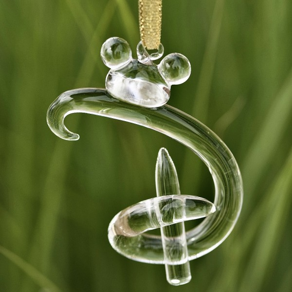 """Hanging letter """"D"""" ornament, Disney and Mickey Mouse icon, Arribas Glass Collection"""