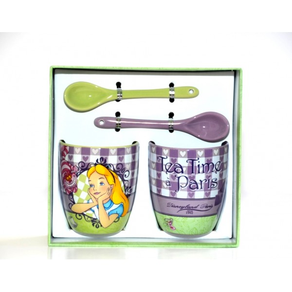 Disneyland Paris Bistro Collection Alice In Wonderland Cups and Spoons