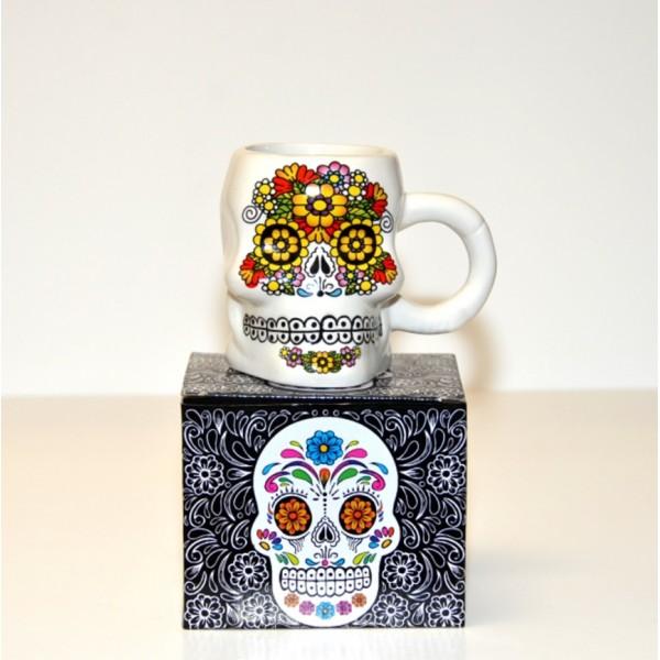 White Tribal Day of The Dead Skull Mug