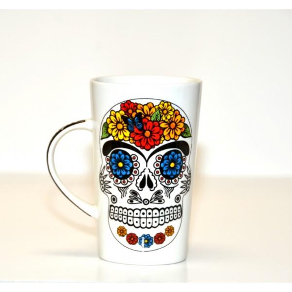 White Tribal Day of The Dead Mug