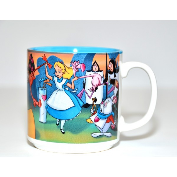 Vintage Alice in Wonderland and Queen of Hearts playing croquet mug