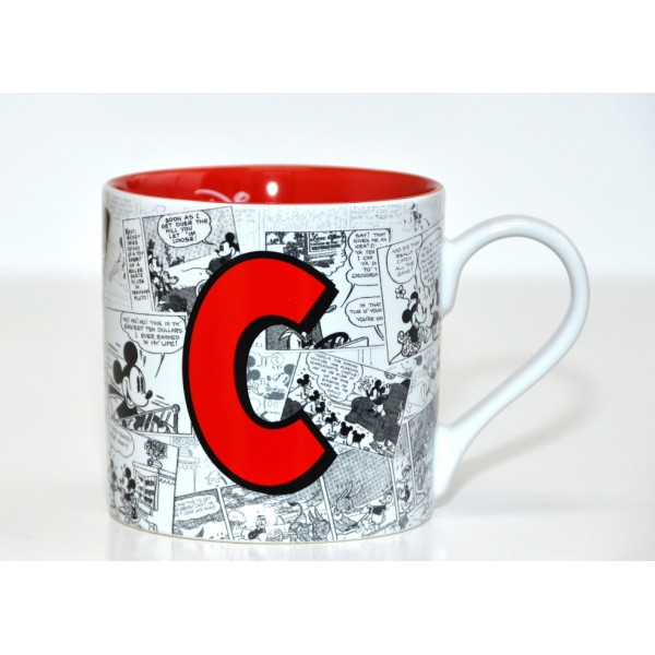 Mickey Mouse Comic-Style Print Mug with Letter C