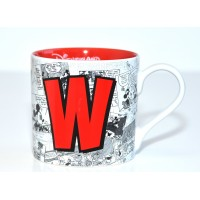 Mickey Mouse Comic-Style Print Mug with Letter W