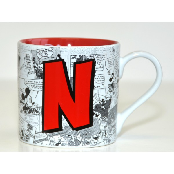Mickey Mouse Comic-Style Print Mug with Letter N