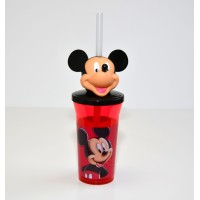Mickey Mouse Head Cup with Straw
