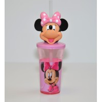 Minnie Mouse Head Cup with Straw