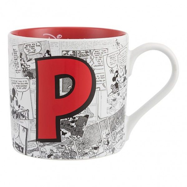 Mickey Mouse Comic-Style Print Mug with Letter P