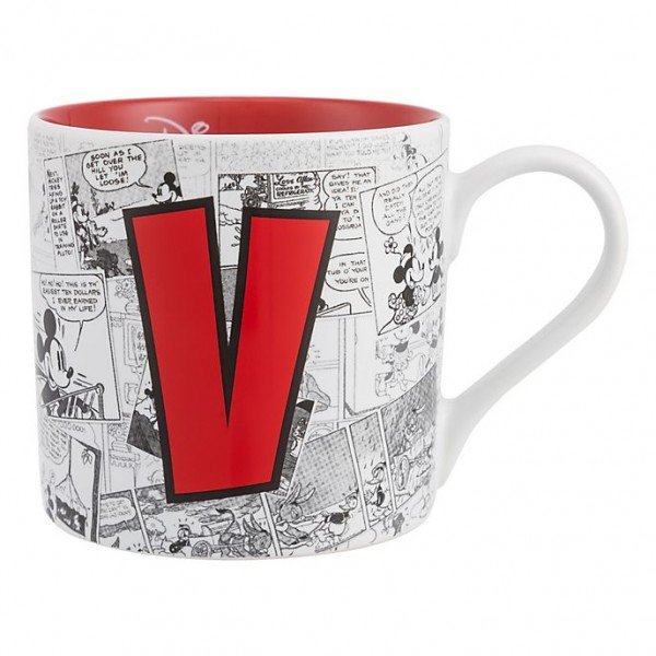 Mickey Mouse Comic-Style Print Mug with Letter V