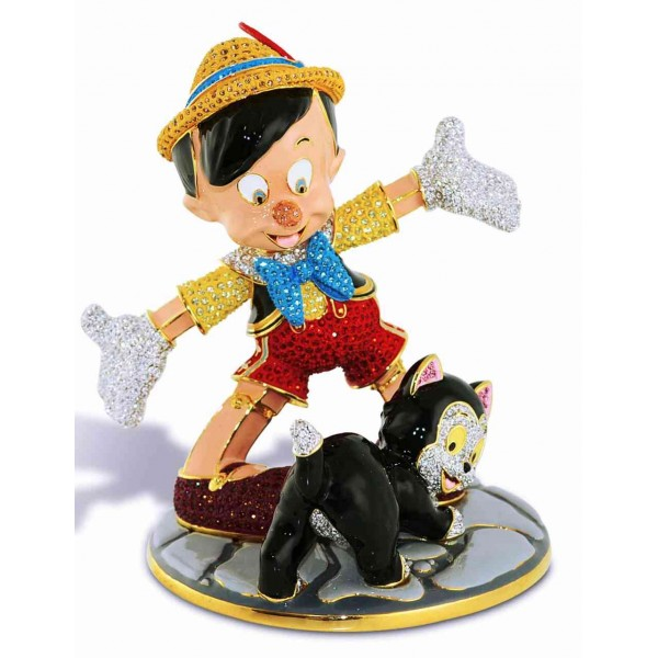 Crystallized Swarovski Pinocchio and Figaro figure, Arribas Glass Collection