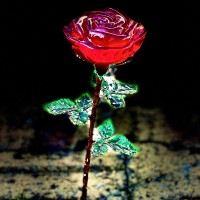 Red Rose glass Button, Arribas Glass Collection