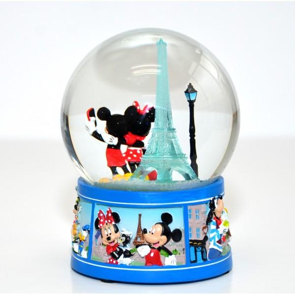 Disneyland Paris Mickey And Minnie Mouse Souvenir Snow Globe
