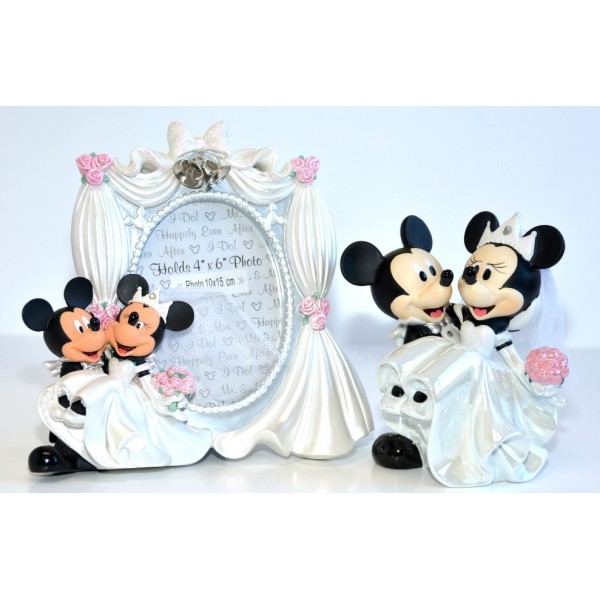Mickey and Minnie Wedding Photo Frame and Figurine Set