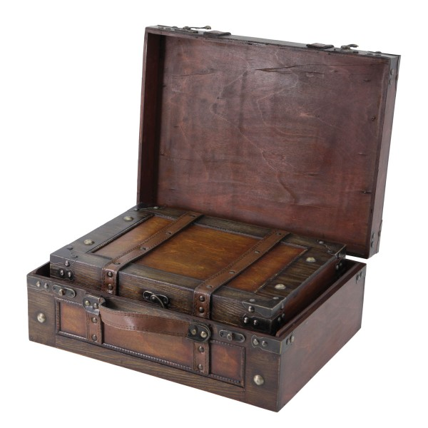 Antique Style Wooden Suitcase - Nested Set of 2