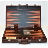 Brown Leather Backgammon Set By Renzo Romagnoli