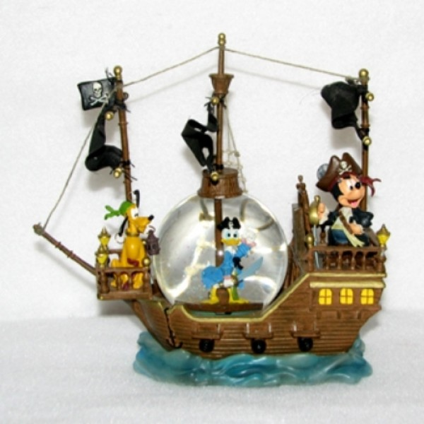 Disney Snow Globe - Black Pearl Pirate Ship - Mickey, Donald & Pluto