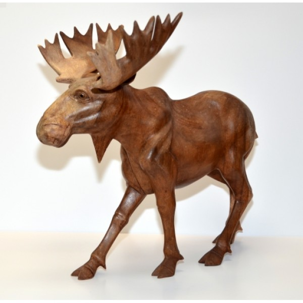 Large Carved Wooden Moose